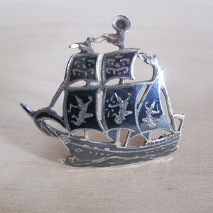 Sterling Silver Brooch FRIGATE Tall Ship Sailing